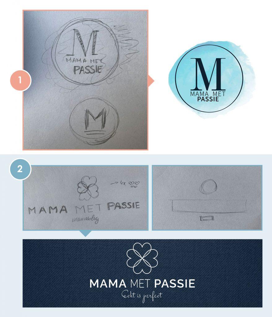 Schets, ontwerp, logo, mama met passie