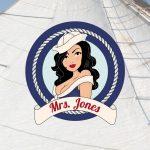 Ontwerp, logo, Mrs. Jones, wedstrijd zeilen, uniek, vormgeving