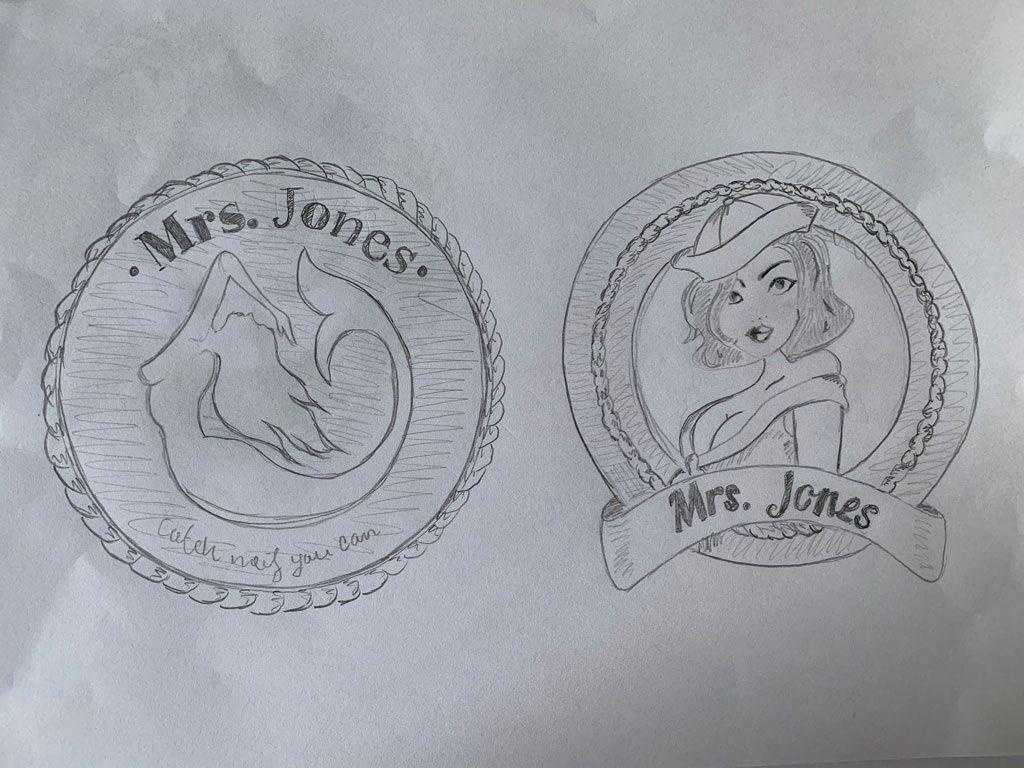 Schetsen, logo, mrs Jones